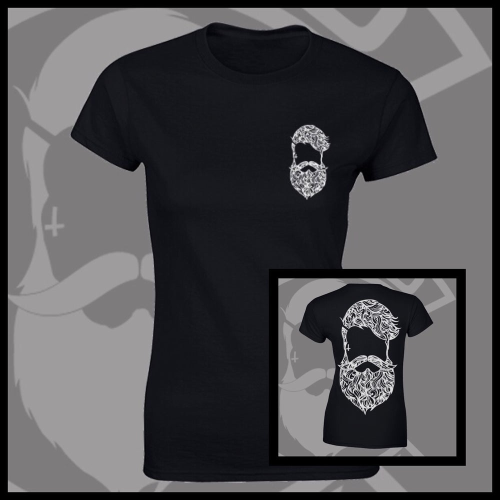 Image of Black Beard & Ink Rear Large Patterned Logo Tee