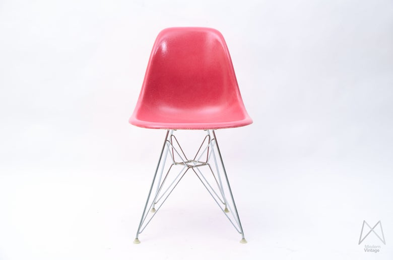 Image of Eames Herman Miller Fiberglass Original Side Chair Pink Vintage Collectors Item