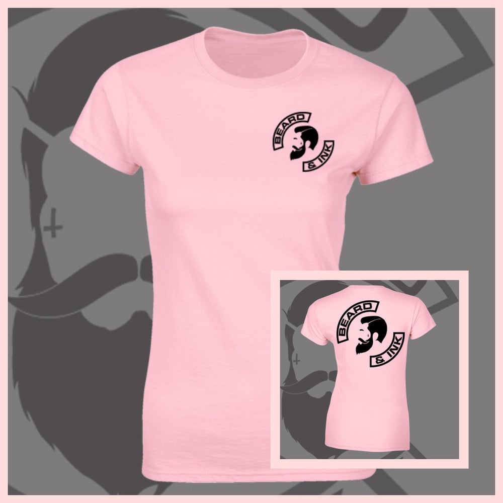 Image of Baby Pink Beard & Ink Rear Side Logo Tee.