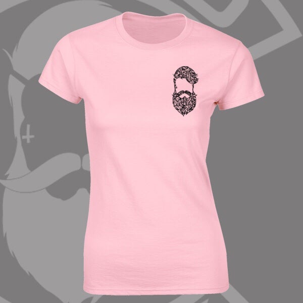 Image of Baby Pink Beard & Ink Rear Large Patterned Logo Tee