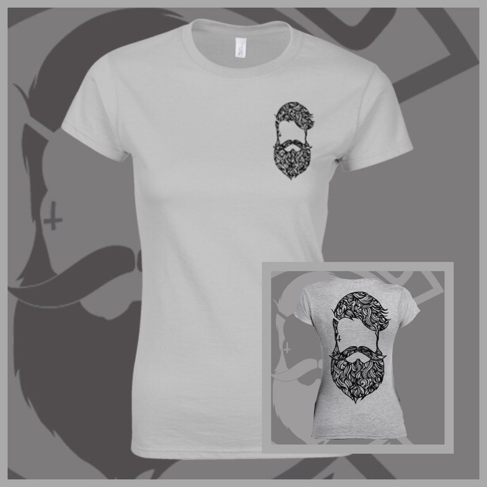 Image of Grey Beard & Ink Rear Large Patterned Logo Tee