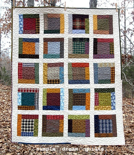"Image of lap quilt - 48""x40"" - framed square design - farmhouse quilts"