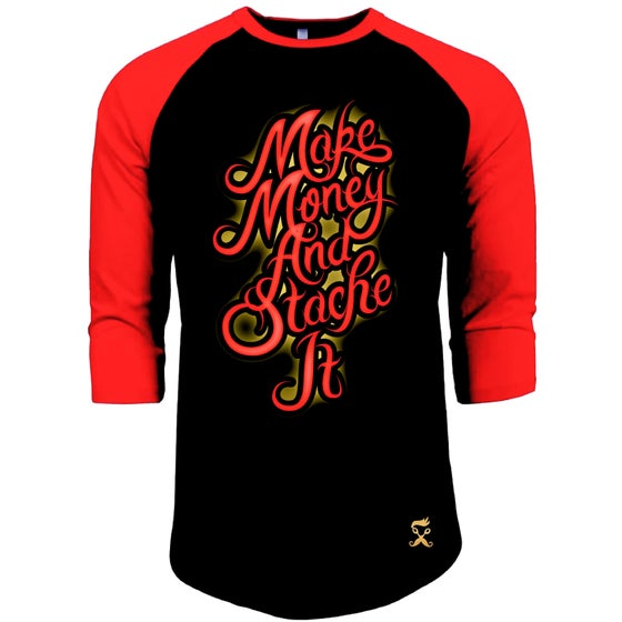 Image of MAKE MONEY RAGLAN 3/4 sleeve TSHIRT