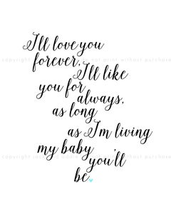 Image of {i'll love you forever} 8x10 PDF download poster print