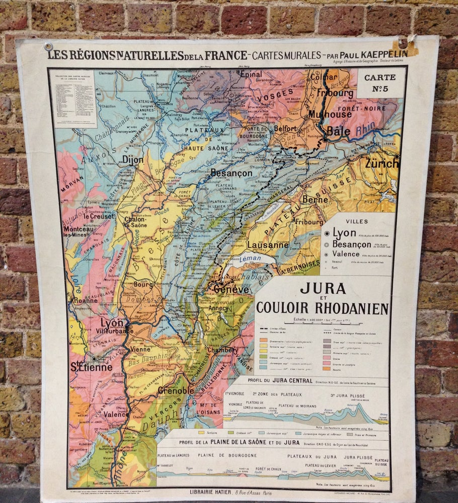 Image of 1960s Map of the French Region of Jura