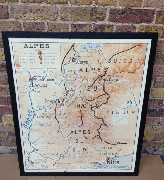 Image of 1950s Map of the French Alps