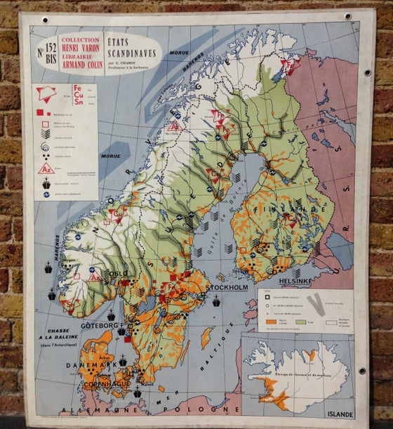 Image of 1960s Map of Scandinavia