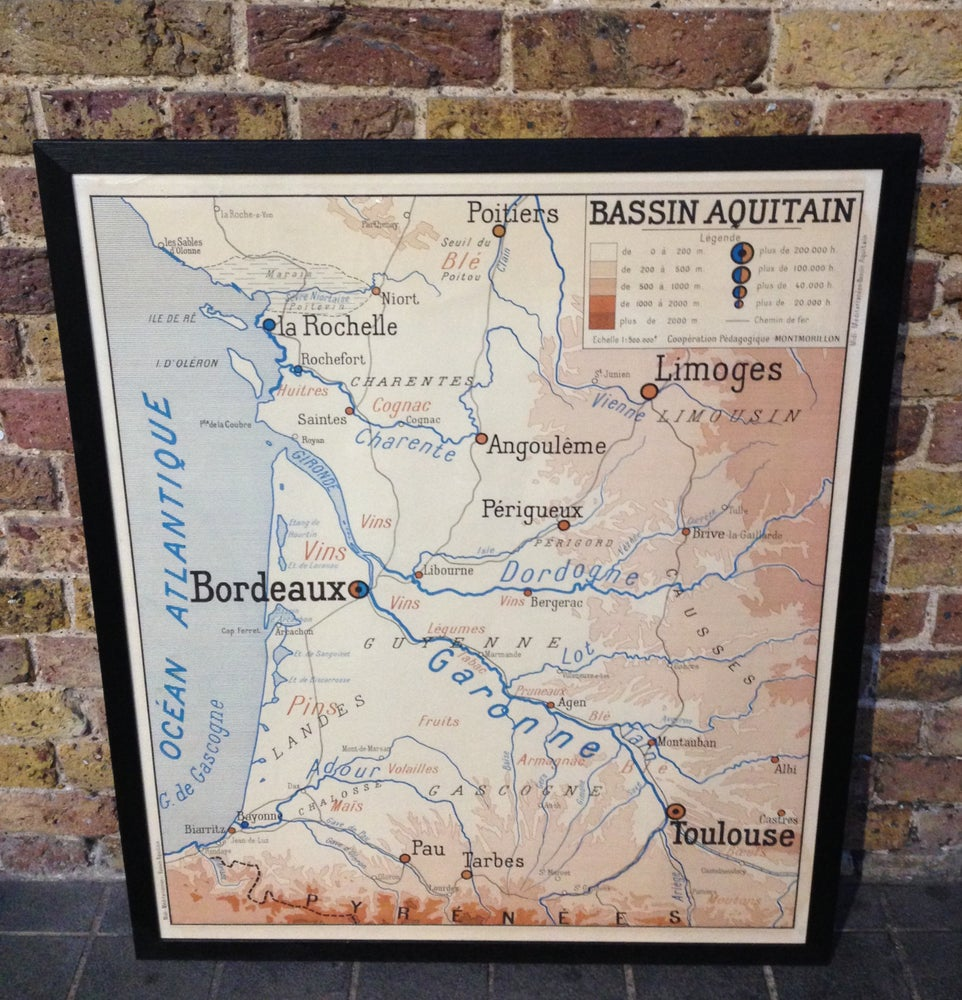 Image of 1950s Map of the Bordeaux Wine Region