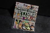 Image of Twisted Comix Button 4 Pack + Sticker