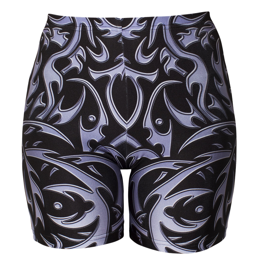 Image of TRIBAL BLACK BIKER SHORT