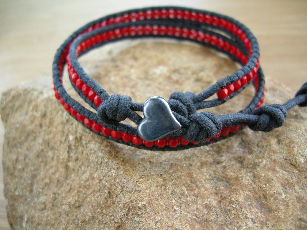 Image of Red and Black Waxed Cotton Wrap Bracelet
