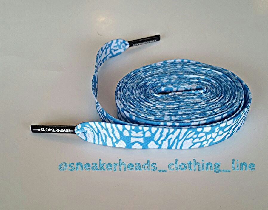 "Image of Exclusive ""ELEPHANT PRINT/CEMENT"" LE Custom Shoelaces (Powder Blue)"