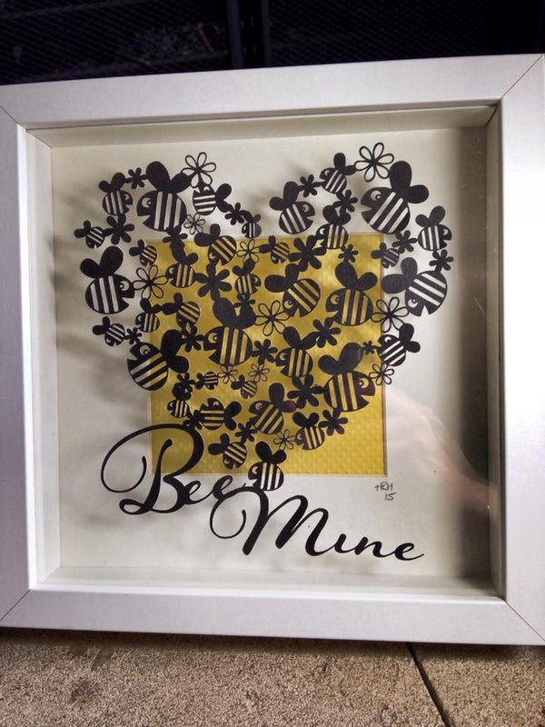 Image of Handcut 'Bee Mine' original papercut