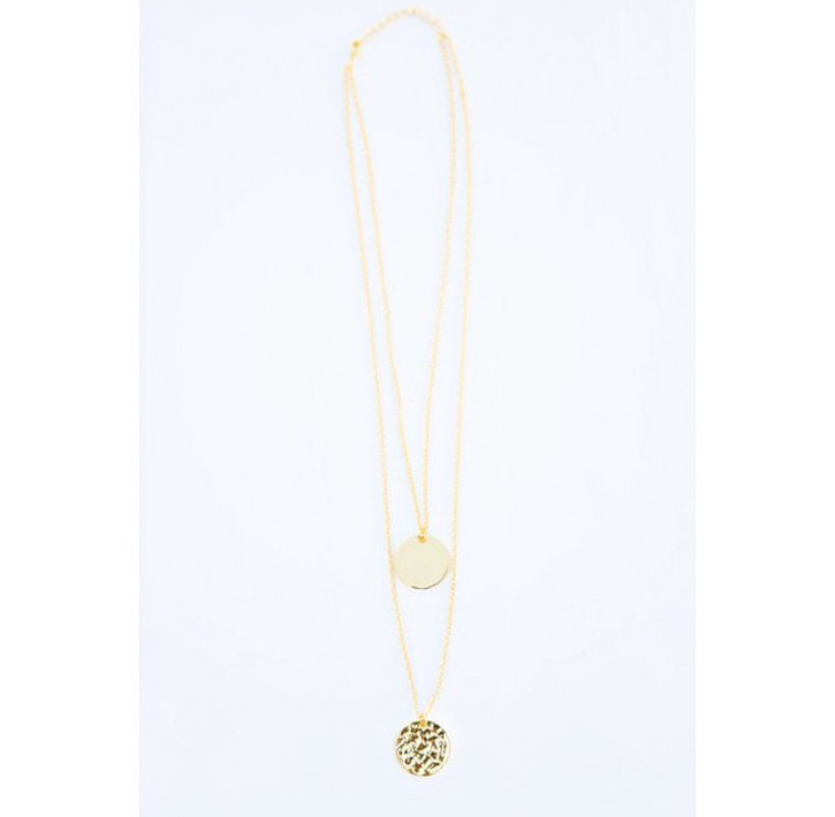Image of Gold Disc Coin 2 Layer Necklace
