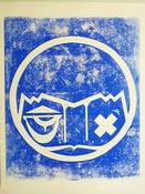 """Image of Gravure """"Blue stamp"""" # 2,  2015 sur papier peint ancien 50x65 cm"""