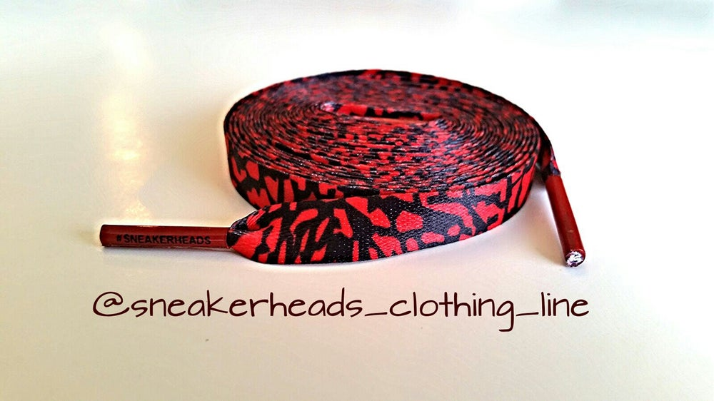 Image of Exclusive Elephant Print LE Custom Shoe Laces (Red)