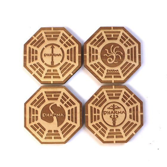 Image of 6pc. Laser Cut Basswood Coasters: Dharma Initiative