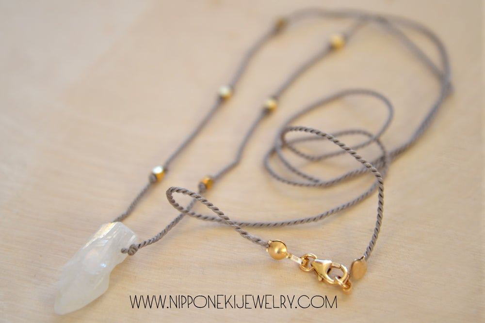Image of Rock Crystal on Silk, Quartz Long Layering Necklace, Quartz and Gold Necklace, Raw Stone Necklace