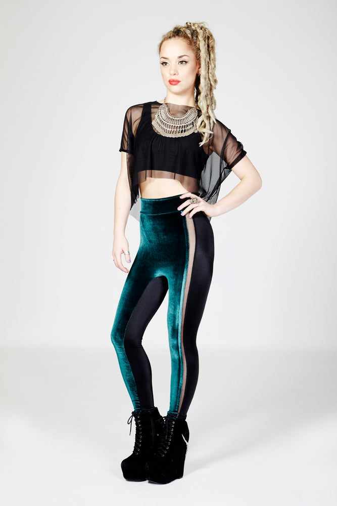 Image of ALINA Leggings in EMERALD GREEN VELVET