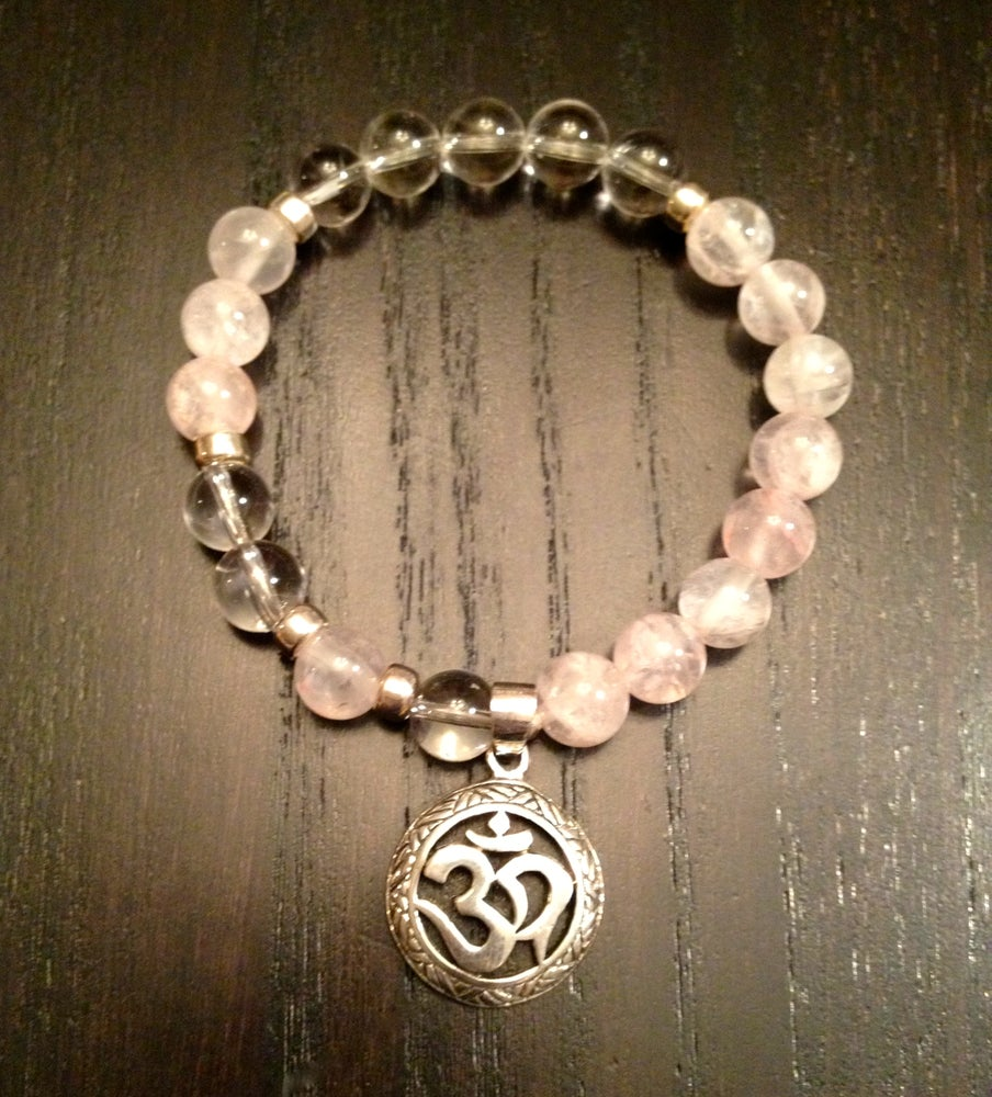 Image of Infinity OM Wrist Mala Rose & Clear Quartz