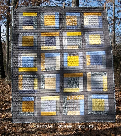 """Image of lap quilt, baby quilt - 48""""x40"""" - framed square design - shades of gray - modern quilts"""