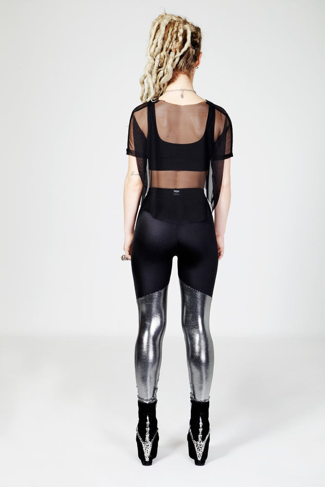 Image of KAI Leggings in BLACK/METALLIC SILVER