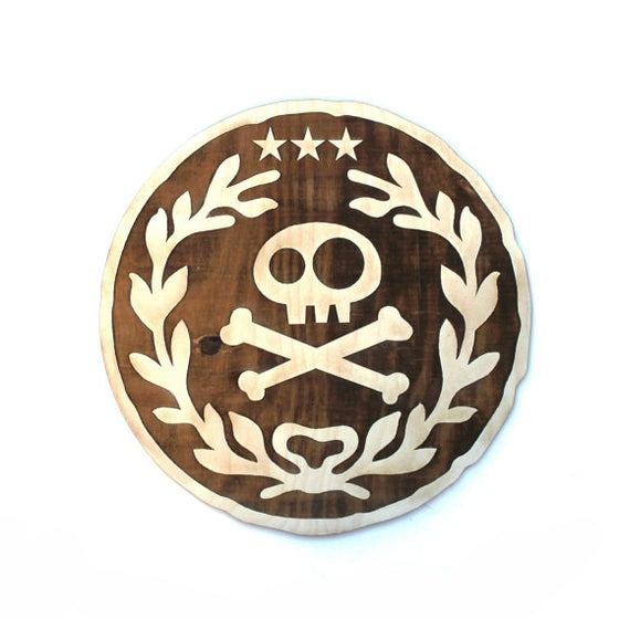 "Image of 12""x12"" Neverland Wood Doubloon Wall Art"