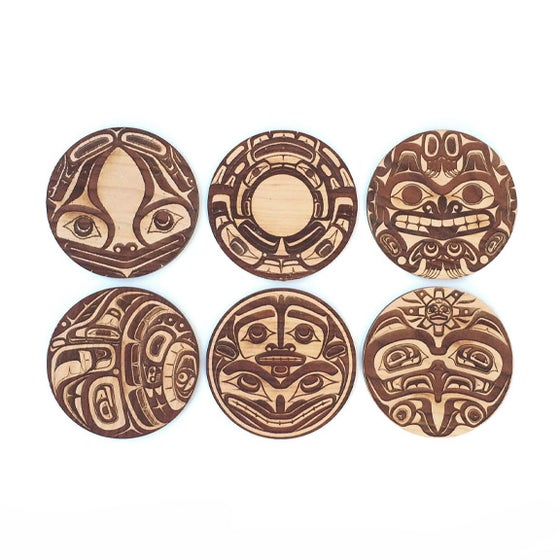 Image of 6pc. Cherry Coasters: Northwest Coast Totems