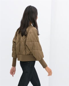 Image of Olive Quilted Bomber
