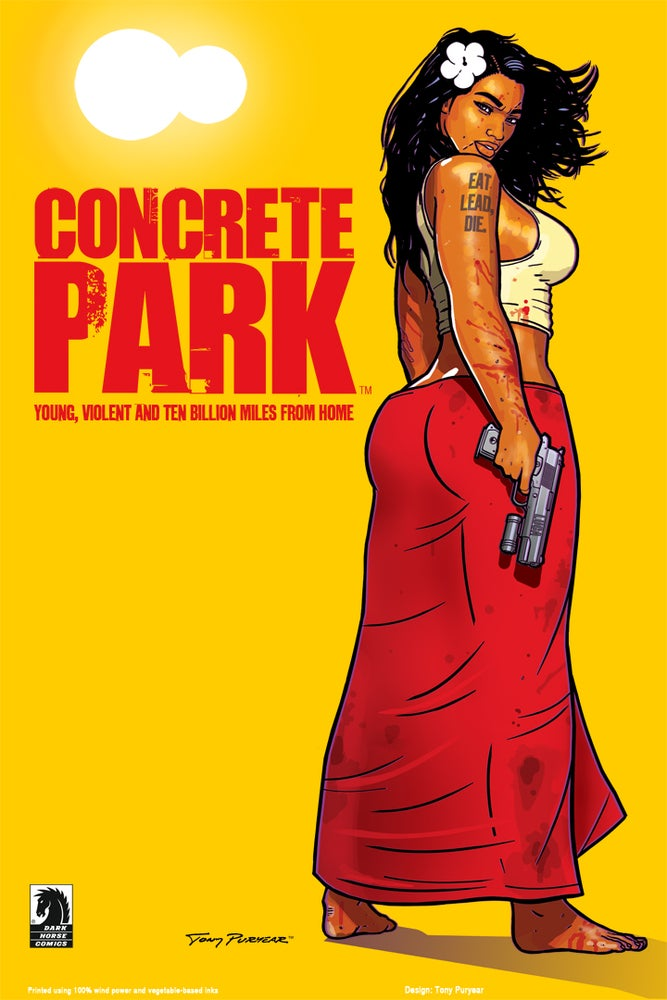 """Image of Concrete Park™ """"Eat Lead, Die"""" poster by Tony Puryear - Litho 24""""x36"""" Signed"""