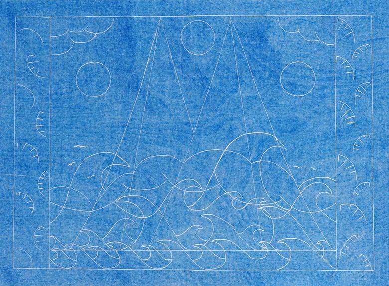 Image of Sea Mountain Sea (blue background variation)