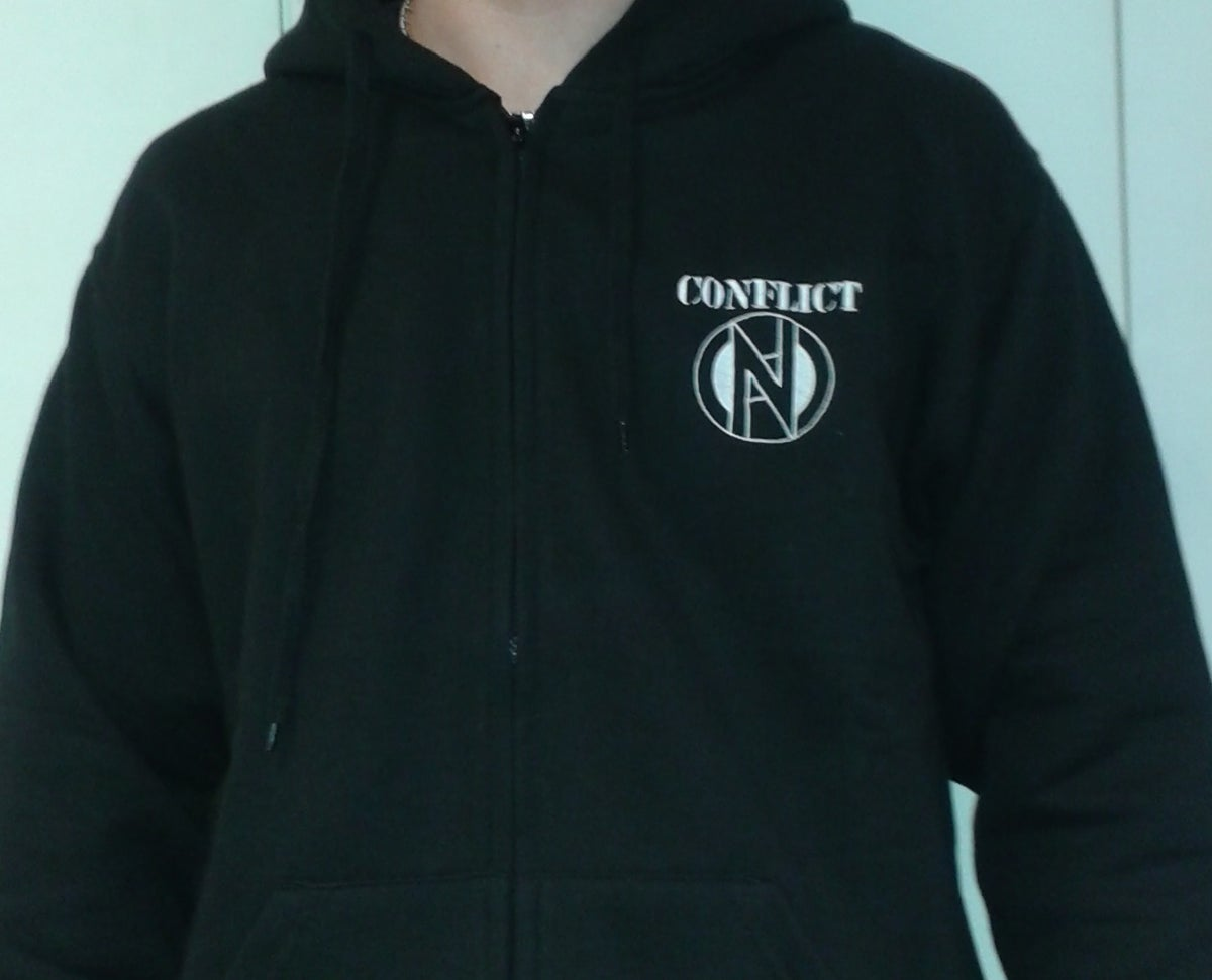 Image of Conflict Zip Up Hoodie with Embroidered Logo