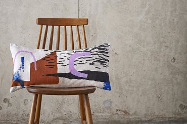 Image of 'Assemble / Configure' Cushion - Terracotta / Pink/ Cobalt / Black