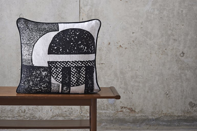Image of 'Collagraph' Round Cushion