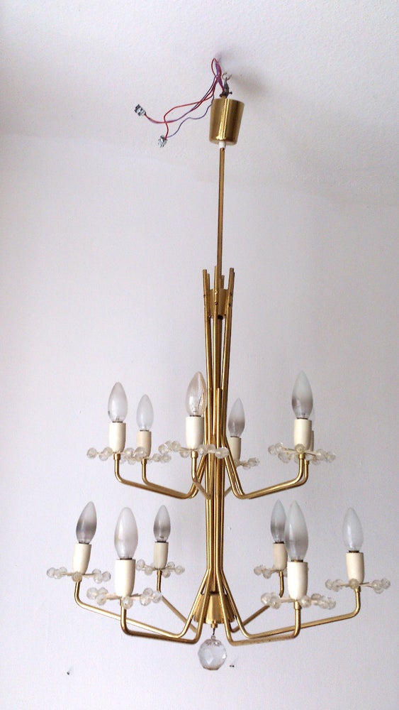 Image of Emil Stejnar 12 arm brass and crystal Chandelier