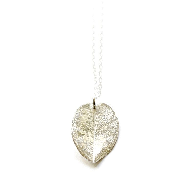 Image of Medium Ohi'a leaf necklace sterling silver