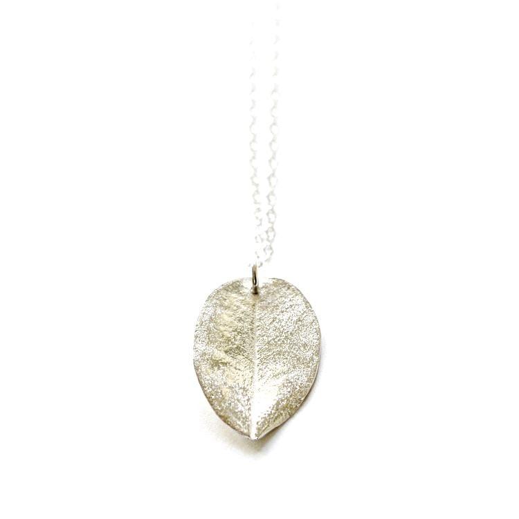 Image of Medium Ohi'a leaf necklace sterling silver