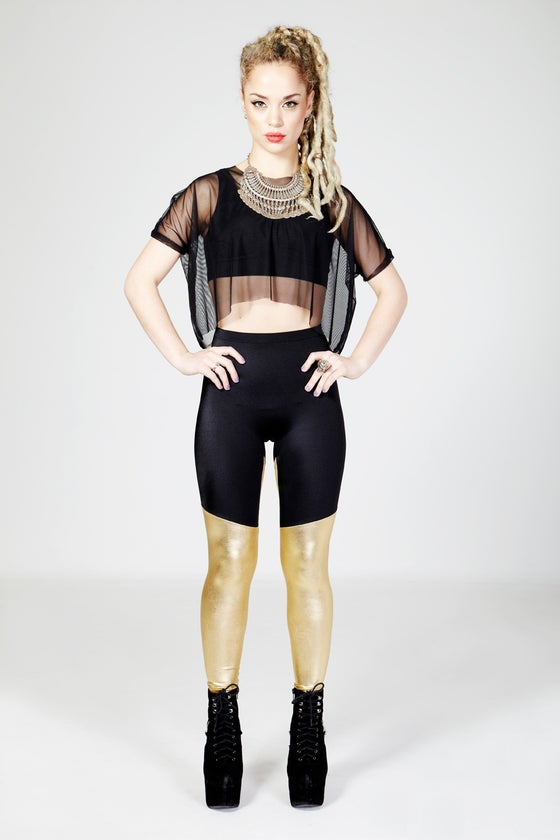 Image of KAI Leggings in BLACK/METALLIC GOLD