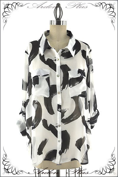 Image of Black and White Oversized Top
