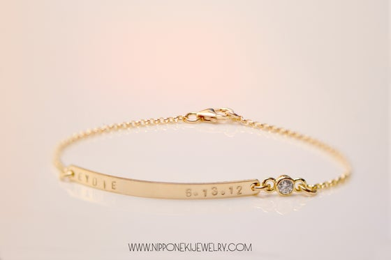 Image of Gold or Sterling Silver Skinny Bar CZ Bracelet - Customized Name Plate Bracelet