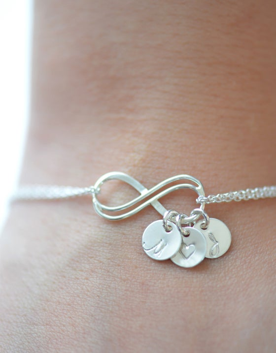 Image of Sterling Silver Double Infinity Bracelet , Personalized Initial Bracelet
