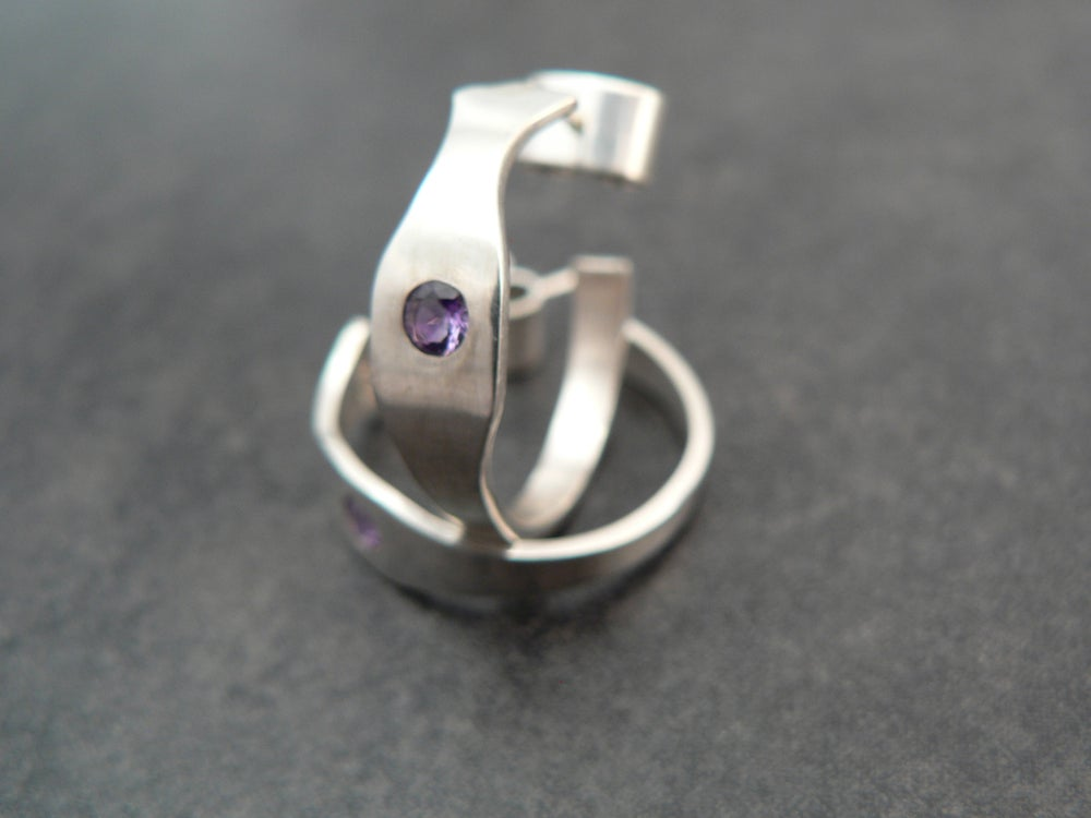 Image of Sterling and Amethyst Hoop Earrings