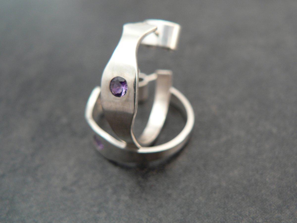 Image of Sterling and Amethyst Hoop Earrings
