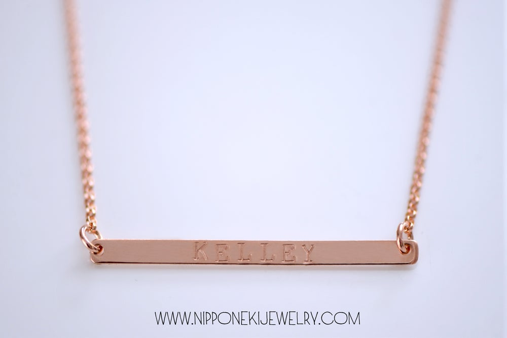 Image of Skinny Bar Necklace , Skinny Long Nameplate Bar Necklace - Typewriter Font