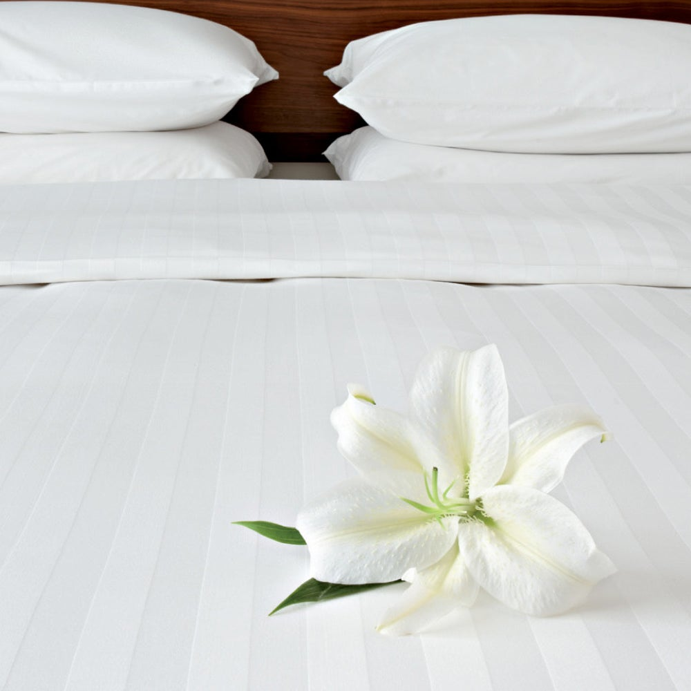Image of Satin Stripe Flat Sheets