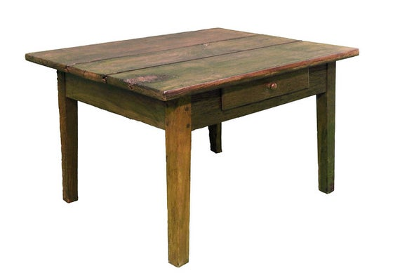 Image of 18th Century Oak Plank top low table with drawer