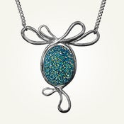 Image of Blue Green Druzy Belle Epoque Necklace, Sterling Silver