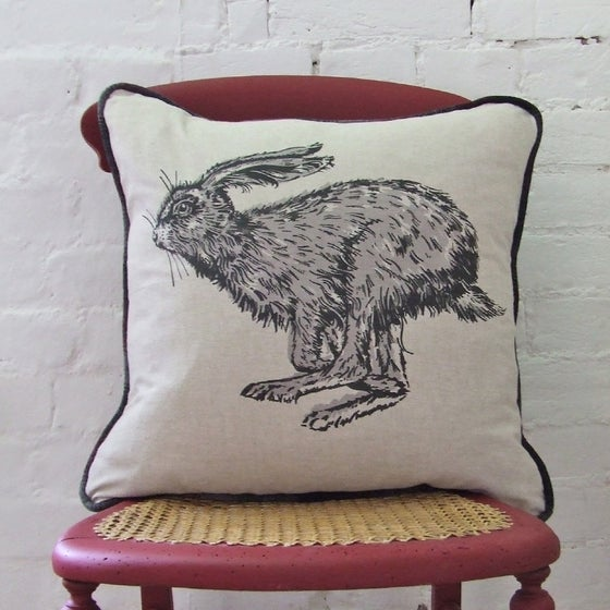 Image of RUNNING HARE CUSHION, LINEN.