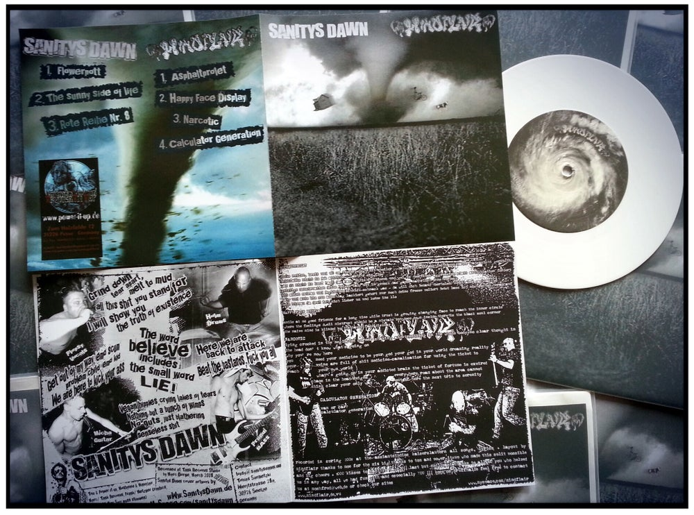 "Image of MINDFLAIR/SANITYS DAWN-split 7"" white vinyl"