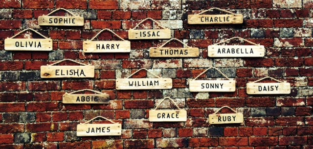 Image of Rustic wooden sign - names